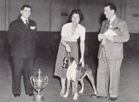 Mr George Jakeman, Mrs Gamble, CH Fenella of Breakstones and Mr W. G. Siggers - Taken from Dog World Annual 1953, Page 45
