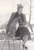 CH Mazelaine's Zazarc Brandy with Mrs Wagner on a chair - taken from The Dog World Annual 1952, Page 139